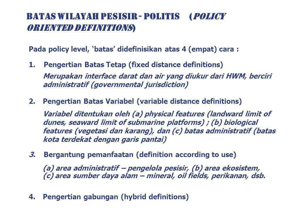 BATAS WILAYAH PESISIR - POLITIS (POLICY ORIENTED DEFINITIONS) Pada policy level, 'batas' didefinisikan atas 4 (empat) cara : 1. Pengertian Batas Tetap
