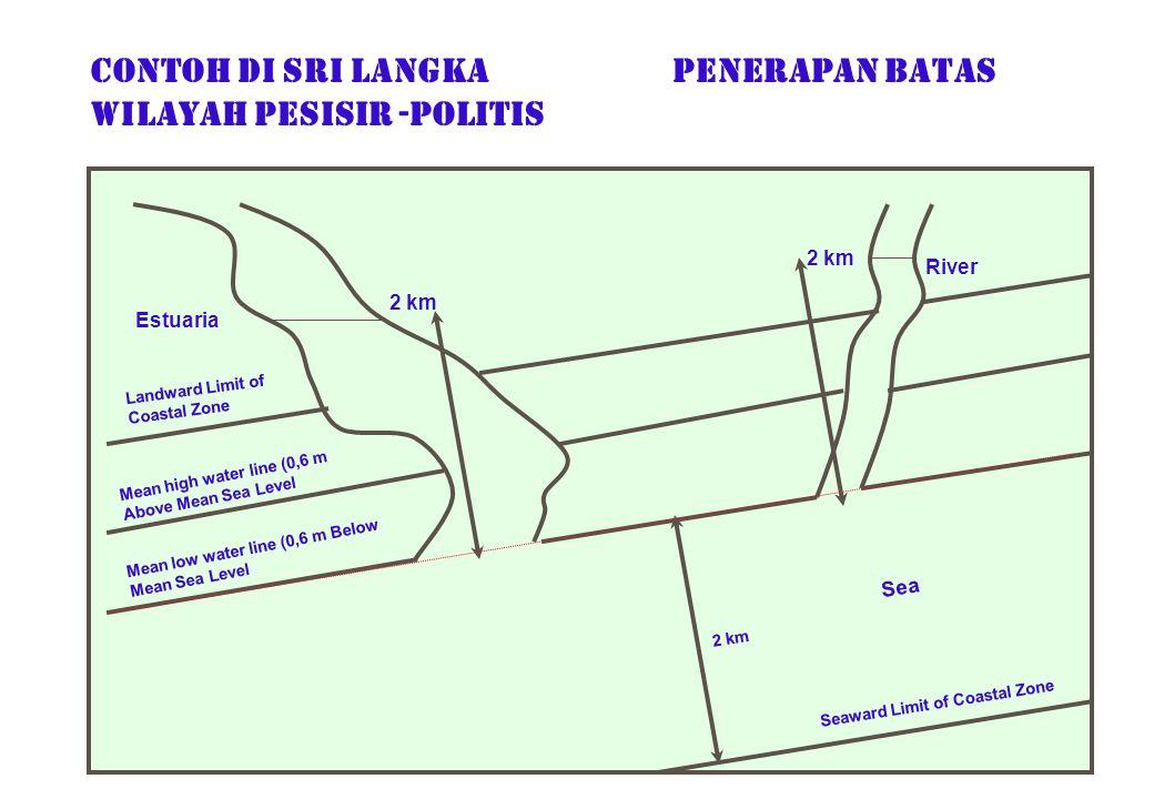 CONTOH di Sri langka PENERAPAN BATAS WILAYAH PESISIR -POLITIS Estuaria 2 km Landward Limit of Coastal Zone Mean high water line (0,6 m Above Mean Sea