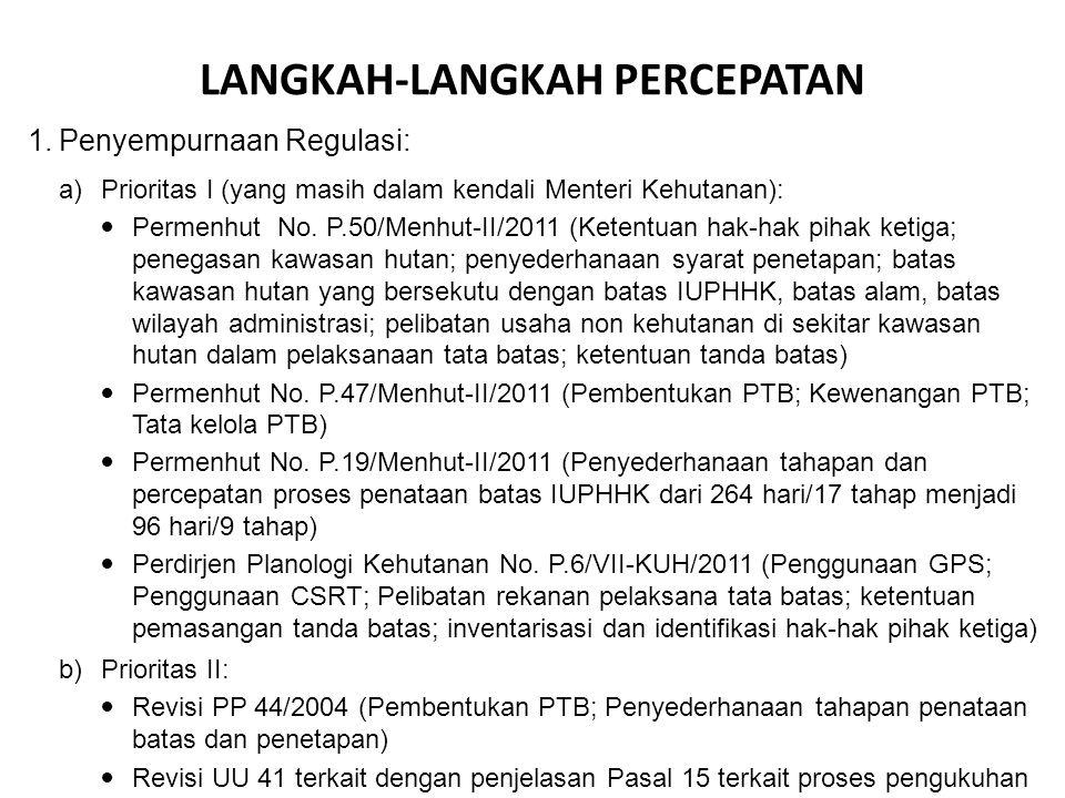 LANGKAH-LANGKAH PERCEPATAN 1. Penyempurnaan Regulasi: a) Prioritas I (yang masih dalam kendali Menteri Kehutanan): Permenhut No. P.50/Menhut-II/2011 (