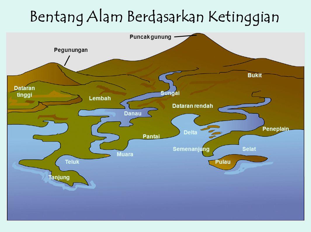 Bentang Alam Berdasarkan Ketinggian Pegunungan Puncak gunung Danau Teluk Tanjung Sungai Lembah Dataran tinggi Dataran rendah Pantai Muara Bukit Delta