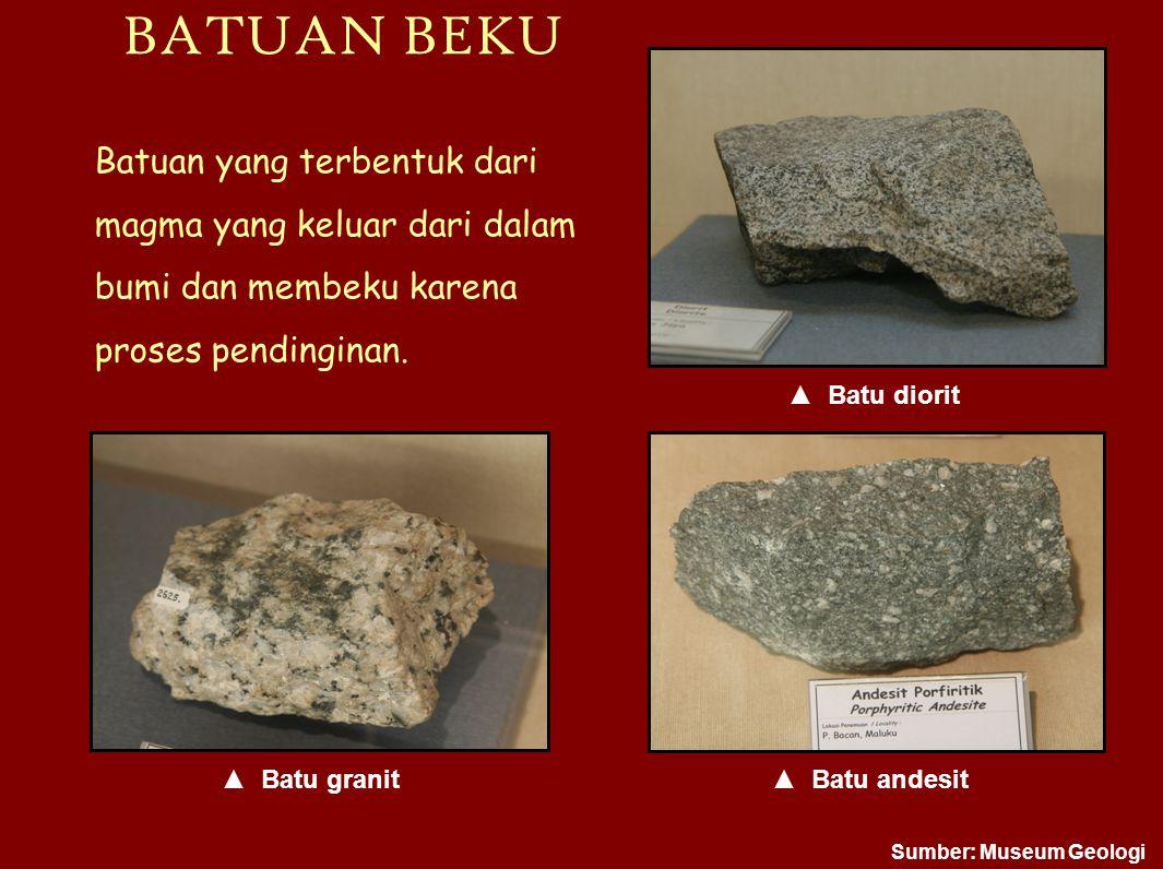 BATUAN BEKU ▲ Batu andesit atu granit atu diorit Batuan yang terbentuk dari magma yang keluar dari dalam bumi dan membeku karena proses pendinginan. S