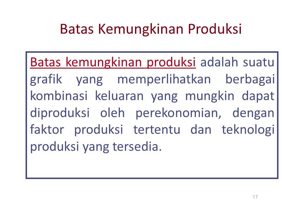 Batas Kemungkinan Produksi Batas kemungkinan produksi adalah suatu grafik yang memperlihatkan berbagai kombinasi keluaran yang mungkin dapat diproduks