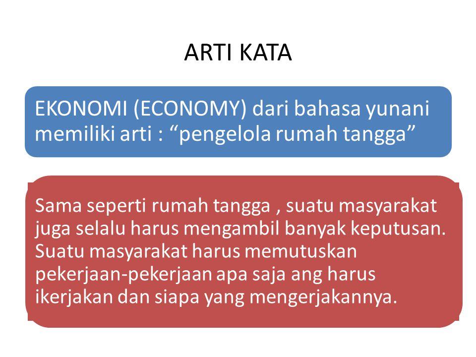 """ARTI KATA EKONOMI (ECONOMY) dari bahasa yunani memiliki arti : """"pengelola rumah tangga"""" Sama seperti rumah tangga, suatu masyarakat juga selalu harus"""