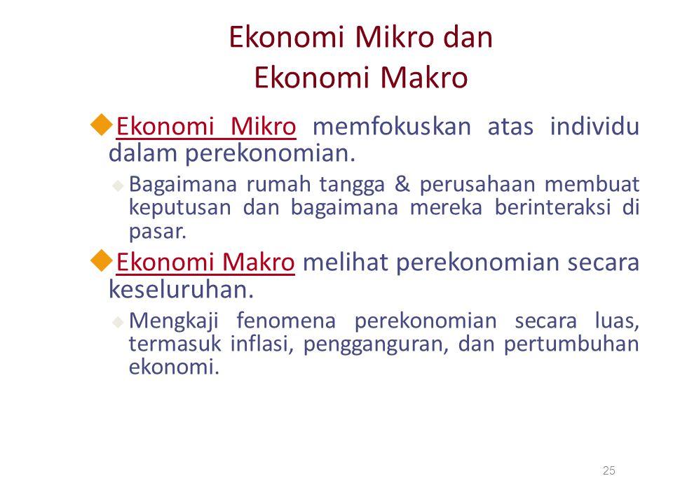 Ekonomi Mikro dan Ekonomi Makro uEkonomi Mikro memfokuskan atas individu dalam perekonomian. u Bagaimana rumah tangga & perusahaan membuat keputusan d
