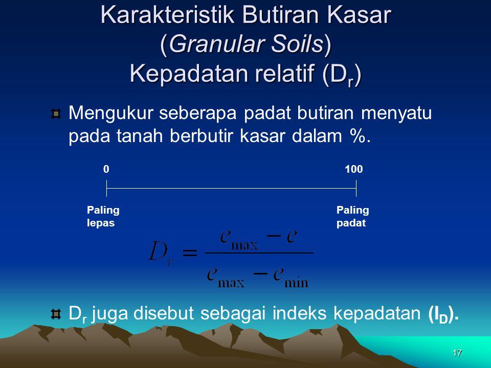 17 Karakteristik Butiran Kasar (Granular Soils) Kepadatan relatif (D r ) Mengukur seberapa padat butiran menyatu pada tanah berbutir kasar dalam %. 01