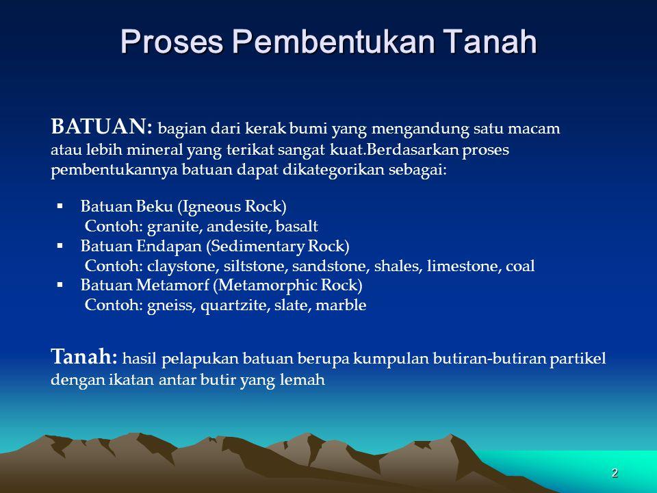 2 Proses Pembentukan Tanah  Batuan Beku (Igneous Rock) Contoh: granite, andesite, basalt  Batuan Endapan (Sedimentary Rock) Contoh: claystone, silts