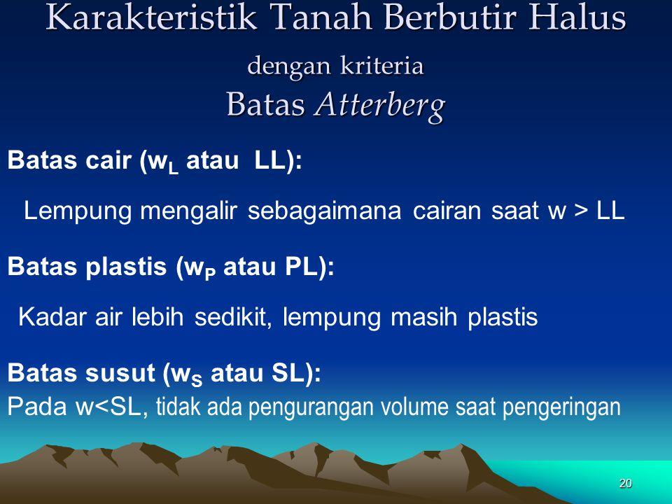 20 Karakteristik Tanah Berbutir Halus dengan kriteria Batas Atterberg Batas cair (w L atau LL): Lempung mengalir sebagaimana cairan saat w > LL Batas