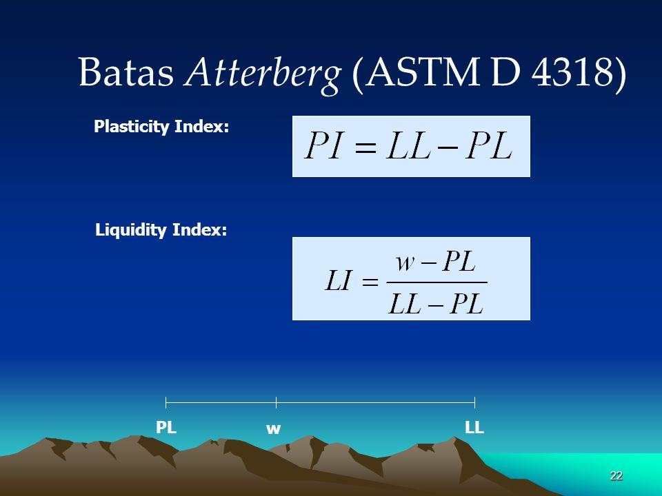 22 Batas Atterberg (ASTM D 4318) Plasticity Index: Liquidity Index: PLLL w