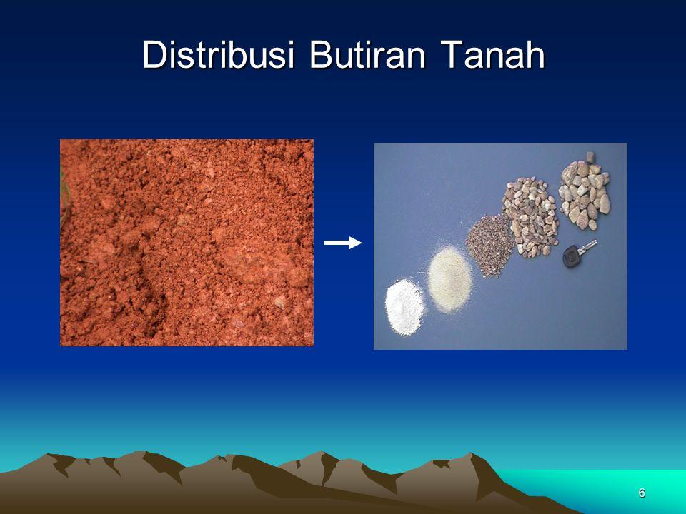 17 Karakteristik Butiran Kasar (Granular Soils) Kepadatan relatif (D r ) Mengukur seberapa padat butiran menyatu pada tanah berbutir kasar dalam %.
