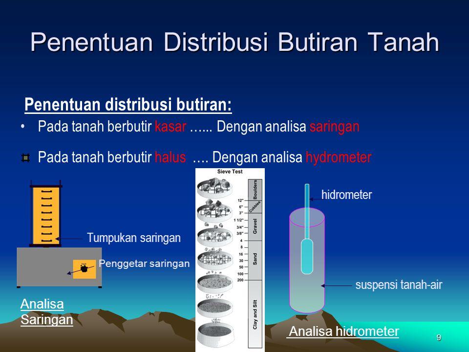 9 Penentuan Distribusi Butiran Tanah Pada tanah berbutir kasar …... Dengan analisa saringan Penentuan distribusi butiran: Pada tanah berbutir halus ….