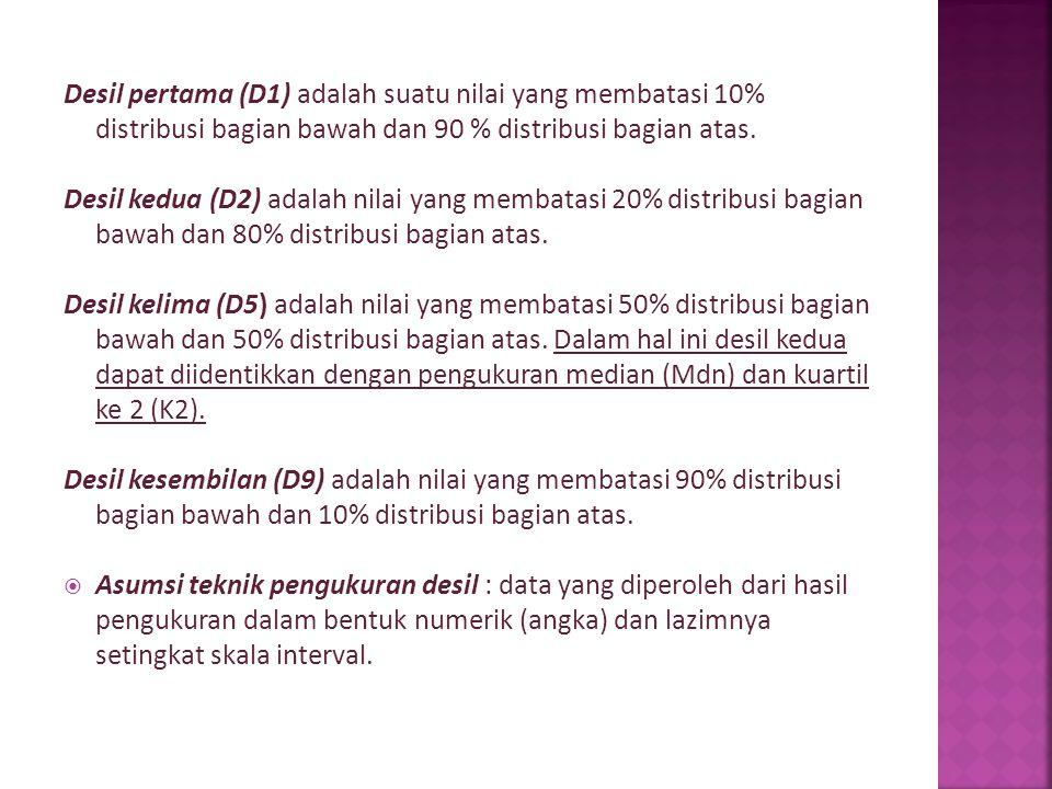 Desil pertama (D1) adalah suatu nilai yang membatasi 10% distribusi bagian bawah dan 90 % distribusi bagian atas. Desil kedua (D2) adalah nilai yang m
