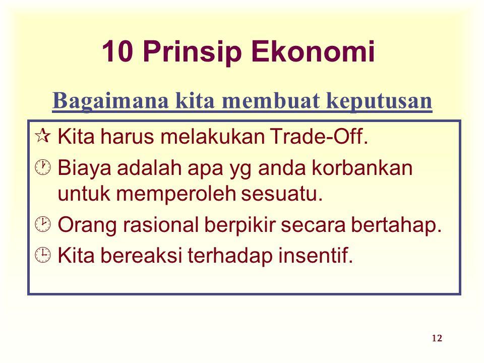 12 10 Prinsip Ekonomi ¶Kita harus melakukan Trade-Off. ·Biaya adalah apa yg anda korbankan untuk memperoleh sesuatu. ¸Orang rasional berpikir secara b