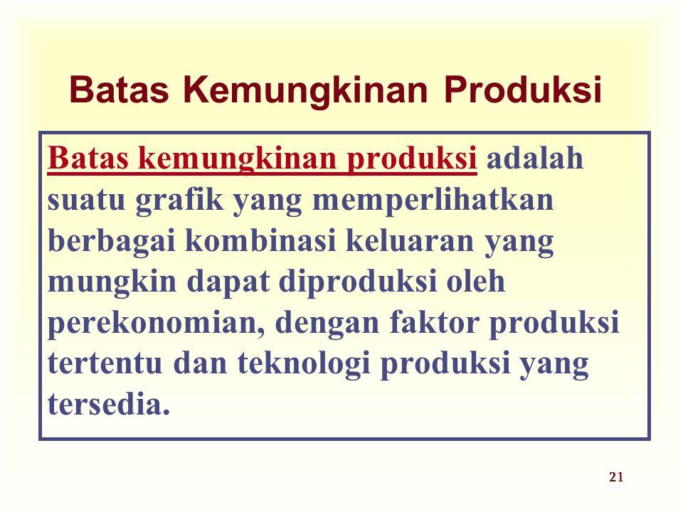 21 Batas Kemungkinan Produksi Batas kemungkinan produksi adalah suatu grafik yang memperlihatkan berbagai kombinasi keluaran yang mungkin dapat diprod
