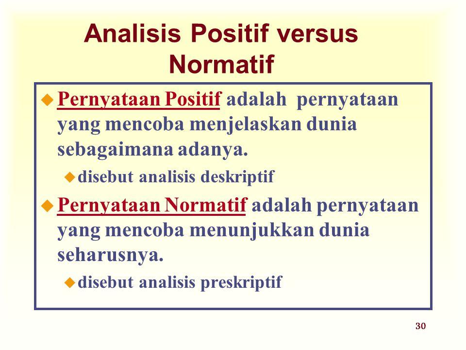 30 Analisis Positif versus Normatif  Pernyataan Positif adalah pernyataan yang mencoba menjelaskan dunia sebagaimana adanya. u disebut analisis deskr