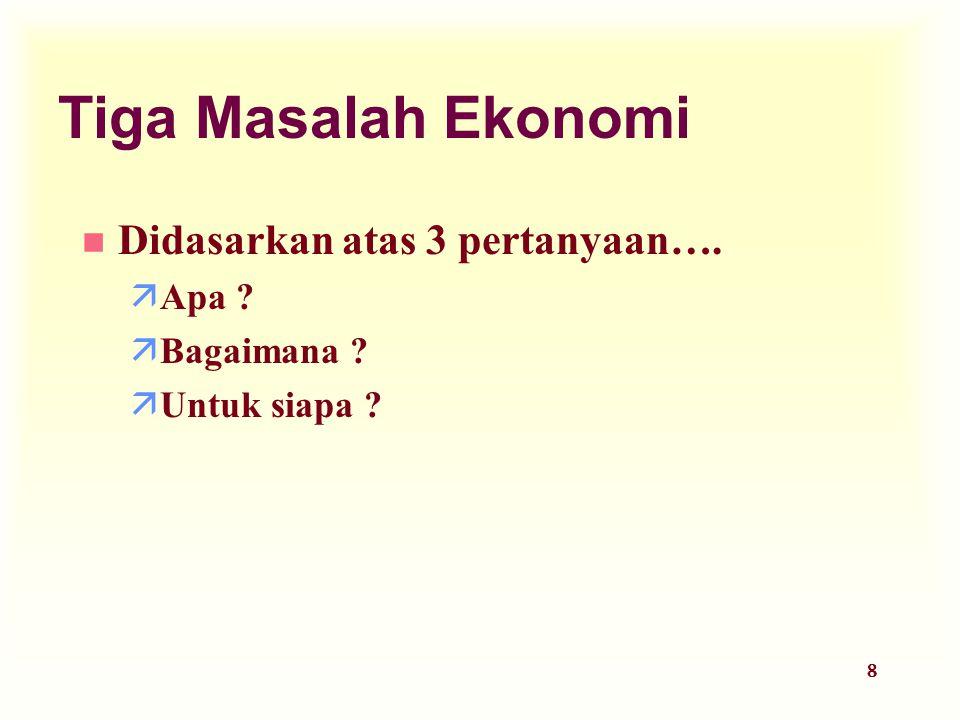 29 Ekonomi Mikro dan Ekonomi Makro u Ekonomi Mikro memfokuskan atas individu dalam perekonomian.