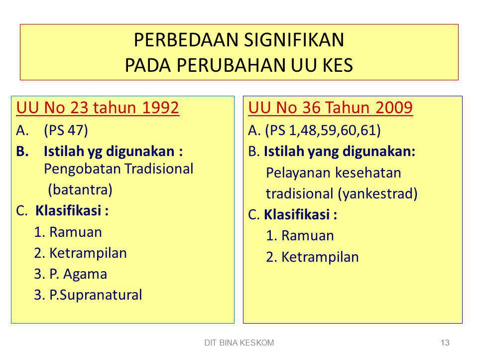 DIT BINA KESKOM 13 DIT BINA KESKOM13 PERBEDAAN SIGNIFIKAN PADA PERUBAHAN UU KES UU No 23 tahun 1992 A.(PS 47) B.Istilah yg digunakan : Pengobatan Tradisional (batantra) C.