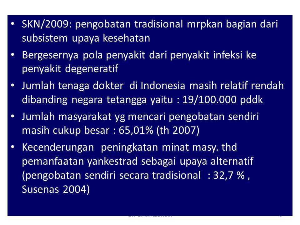 DIT BINA KESKOM 4 Gencarnya iklan batantra melalui media cetak maupun elektronika yg cenderung menyesatkan masyarakat Banyak alat, metode dan obat tradisional yang belum dapat dipertanggungjawabkan keamanan dan manfaatnya bagi kesehatan Di Indonesia terdapat 9600 tanaman berpotensi memp.