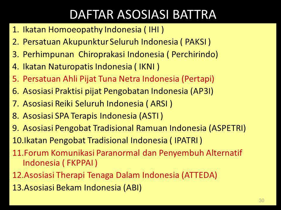 DIT BINA KESKOM 30 DIT BINA KESKOM30 DAFTAR ASOSIASI BATTRA 1.Ikatan Homoeopathy Indonesia ( IHI ) 2.Persatuan Akupunktur Seluruh Indonesia ( PAKSI )