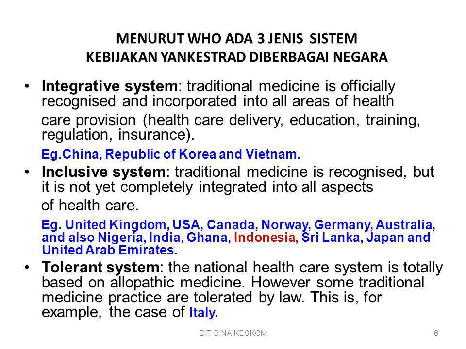 DIT BINA KESKOM 6 MENURUT WHO ADA 3 JENIS SISTEM KEBIJAKAN YANKESTRAD DIBERBAGAI NEGARA Integrative system: traditional medicine is officially recogni