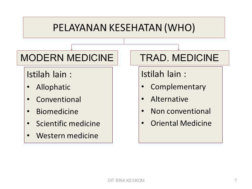 DIT BINA KESKOM 7 PELAYANAN KESEHATAN (WHO) Istilah lain : Allophatic Conventional Biomedicine Scientific medicine Western medicine Istilah lain : Com