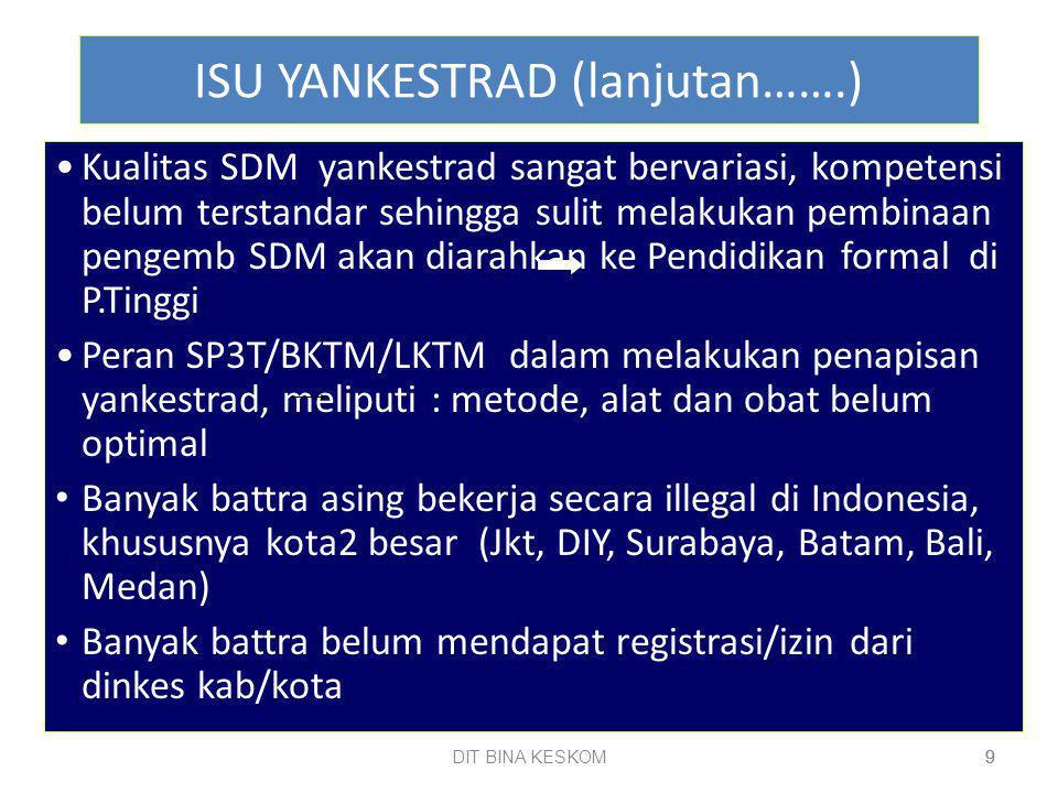 DIT BINA KESKOM 9 9 ISU YANKESTRAD (lanjutan…….) Kualitas SDM yankestrad sangat bervariasi, kompetensi belum terstandar sehingga sulit melakukan pembinaan pengemb SDM akan diarahkan ke Pendidikan formal di P.Tinggi Peran SP3T/BKTM/LKTM dalam melakukan penapisan yankestrad, meliputi : metode, alat dan obat belum optimal Banyak battra asing bekerja secara illegal di Indonesia, khususnya kota2 besar (Jkt, DIY, Surabaya, Batam, Bali, Medan) Banyak battra belum mendapat registrasi/izin dari dinkes kab/kota 9