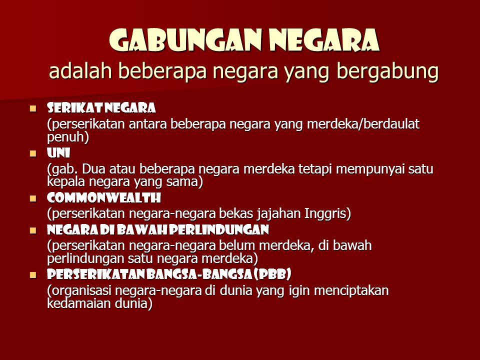 GABUNGAN NEGARA adalah beberapa negara yang bergabung SERIKAT NEGARA SERIKAT NEGARA (perserikatan antara beberapa negara yang merdeka/berdaulat penuh) UNI UNI (gab.