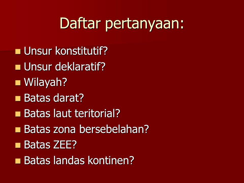 Daftar pertanyaan: Unsur konstitutif. Unsur konstitutif.
