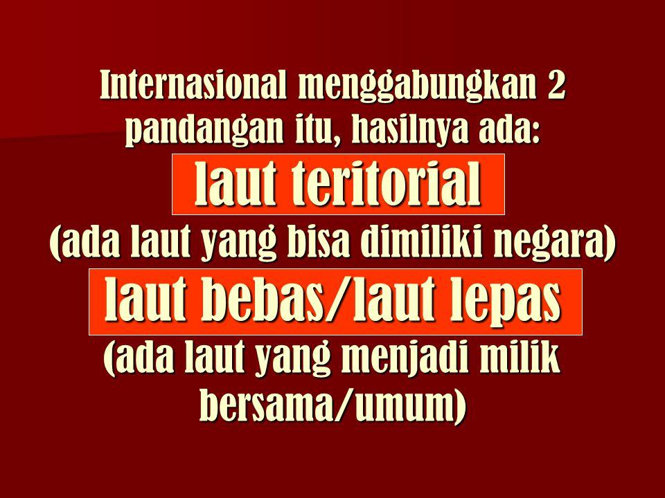 Internasional menggabungkan 2 pandangan itu, hasilnya ada: laut teritorial (ada laut yang bisa dimiliki negara) laut bebas/laut lepas (ada laut yang menjadi milik bersama/umum)