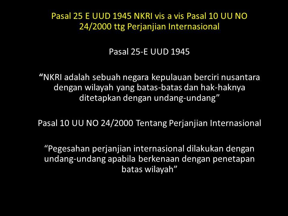 Wacana Perlunya UU Batas Wilayah NKRI Analisis Pasal 25-E UUD 1945 NKRI ADALAH SEBUAH NEGARA KEPULAUAN BERCIRI NUSANTARA DENGAN WILAYAH YANG BATAS-BATAS DAN HAK-HAKNYA DITETAPKAN DENGAN UNDANG-UNDANG