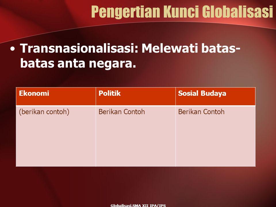 Pengertian Kunci Globalisasi Transnasionalisasi: Melewati batas- batas anta negara. Globalisasi,SMA XII IPA/IPS EkonomiPolitikSosial Budaya (berikan c