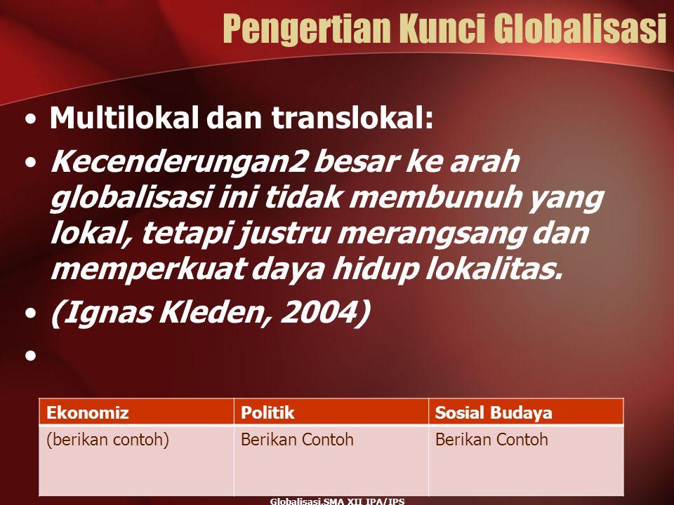 Pengertian Kunci Globalisasi Multilokal dan translokal: Kecenderungan2 besar ke arah globalisasi ini tidak membunuh yang lokal, tetapi justru merangsa