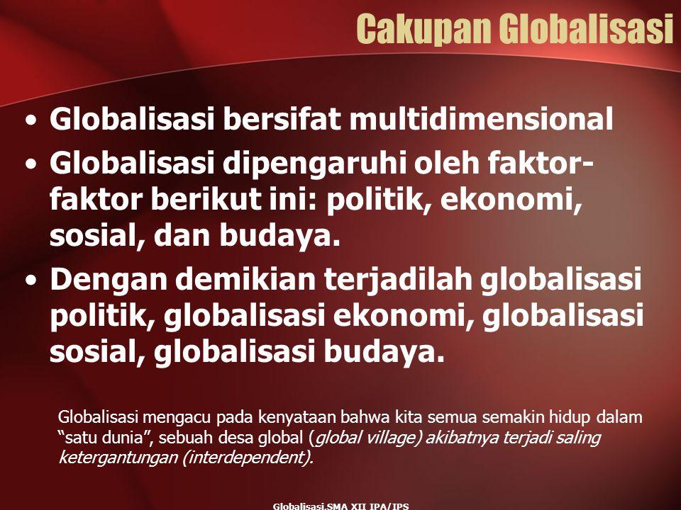 Cakupan Globalisasi Globalisasi bersifat multidimensional Globalisasi dipengaruhi oleh faktor- faktor berikut ini: politik, ekonomi, sosial, dan buday