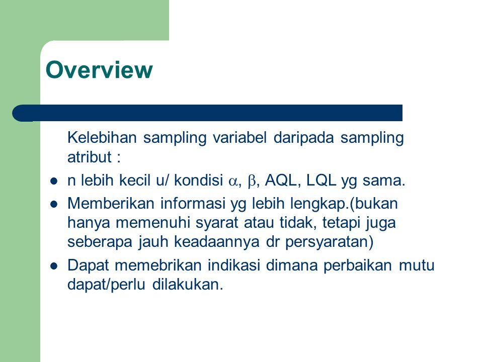 Kelebihan sampling variabel daripada sampling atribut : n lebih kecil u/ kondisi , , AQL, LQL yg sama. Memberikan informasi yg lebih lengkap.(bukan