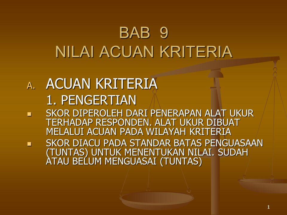 1 BAB 9 NILAI ACUAN KRITERIA A. ACUAN KRITERIA 1. PENGERTIAN SKOR DIPEROLEH DARI PENERAPAN ALAT UKUR TERHADAP RESPONDEN. ALAT UKUR DIBUAT MELALUI ACUA