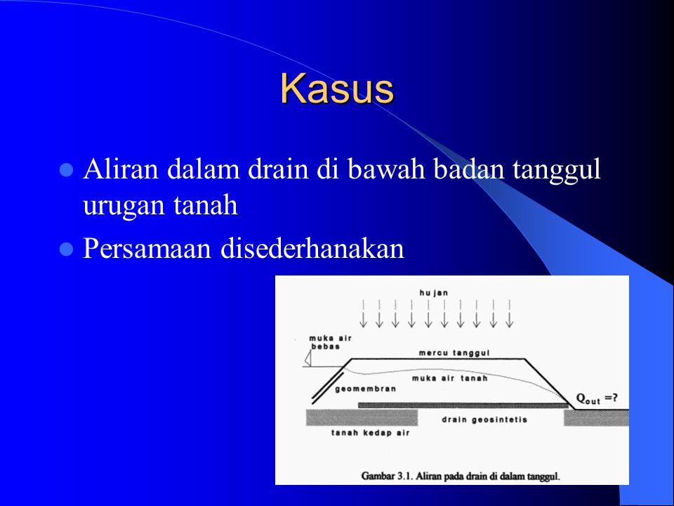 Kasus Aliran dalam drain di bawah badan tanggul urugan tanah Persamaan disederhanakan