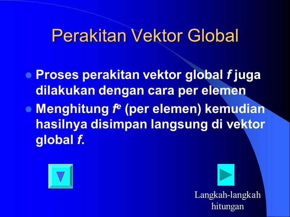 Perakitan Vektor Global Proses perakitan vektor global f juga dilakukan dengan cara per elemen Menghitung f e (per elemen) kemudian hasilnya disimpan langsung di vektor global f.