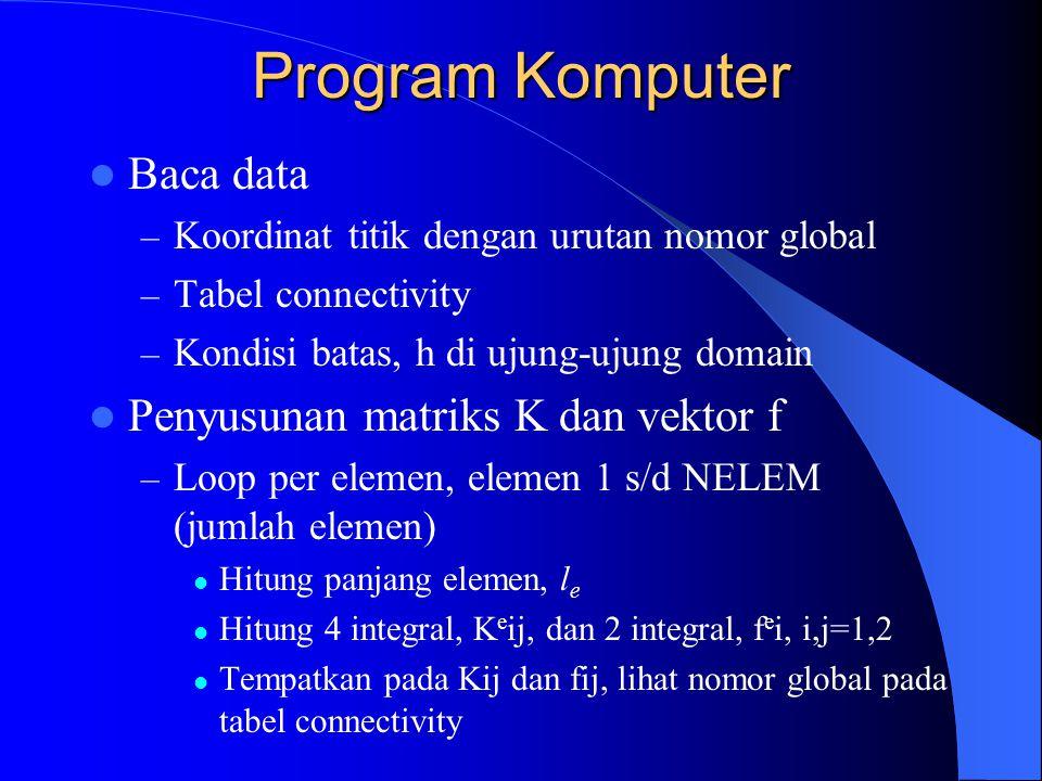 Program Komputer Baca data – Koordinat titik dengan urutan nomor global – Tabel connectivity – Kondisi batas, h di ujung-ujung domain Penyusunan matriks K dan vektor f – Loop per elemen, elemen 1 s/d NELEM (jumlah elemen) Hitung panjang elemen, l e Hitung 4 integral, K e ij, dan 2 integral, f e i, i,j=1,2 Tempatkan pada Kij dan fij, lihat nomor global pada tabel connectivity