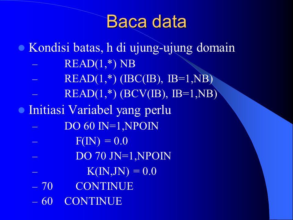 Baca data Kondisi batas, h di ujung-ujung domain – READ(1,*) NB – READ(1,*) (IBC(IB), IB=1,NB) – READ(1,*) (BCV(IB), IB=1,NB) Initiasi Variabel yang p