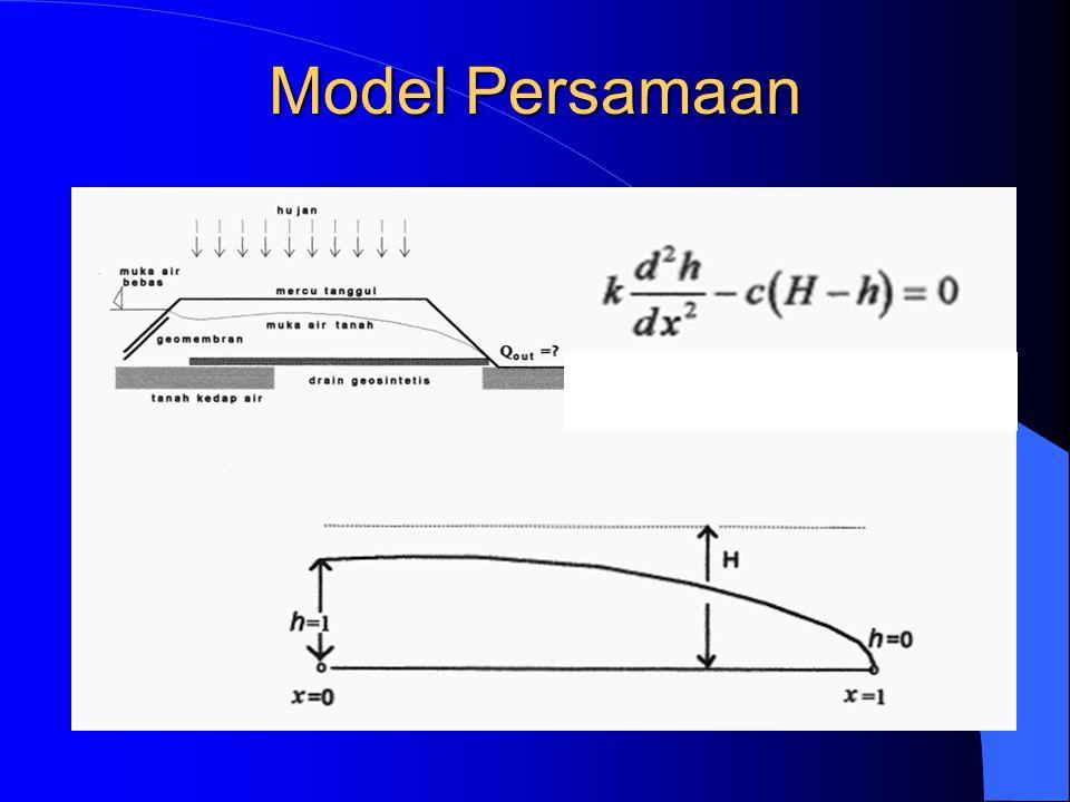 Soal Quiz Aliran air tanah 1 D mengikuti fungsi berikut Hitung tinggi tekanan di tengah domain komputasi, x=2,5 jika pada batas hulu, x=0 tinggi tekanan, h=3 dan pada batas hilir, x=6, h=0,45 x=0 x=3x=6