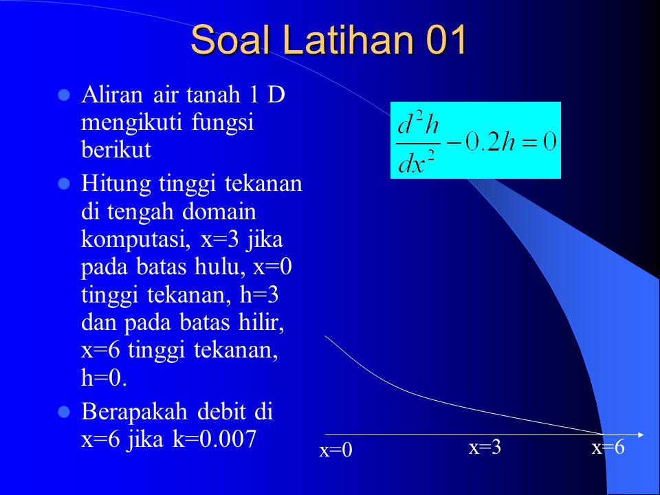 Soal Latihan 01 Aliran air tanah 1 D mengikuti fungsi berikut Hitung tinggi tekanan di tengah domain komputasi, x=3 jika pada batas hulu, x=0 tinggi tekanan, h=3 dan pada batas hilir, x=6 tinggi tekanan, h=0.