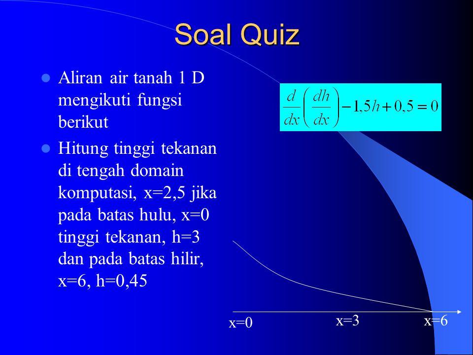 Soal Quiz Aliran air tanah 1 D mengikuti fungsi berikut Hitung tinggi tekanan di tengah domain komputasi, x=2,5 jika pada batas hulu, x=0 tinggi tekan
