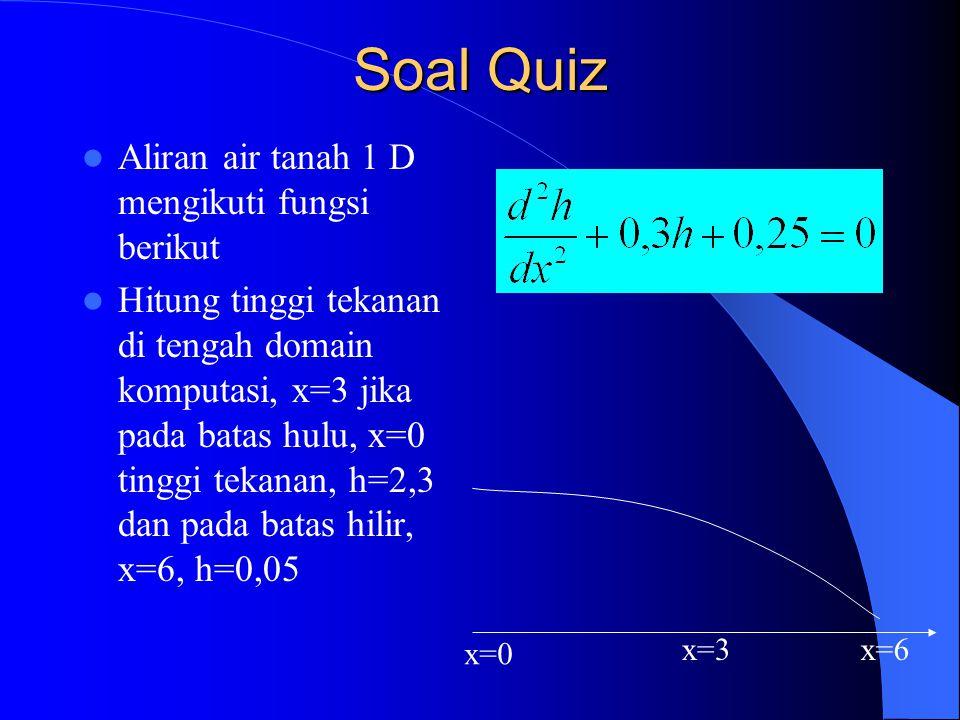Soal Quiz Aliran air tanah 1 D mengikuti fungsi berikut Hitung tinggi tekanan di tengah domain komputasi, x=3 jika pada batas hulu, x=0 tinggi tekanan
