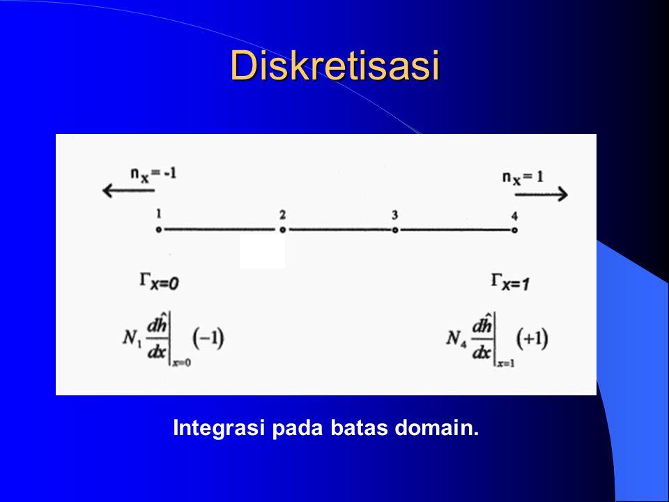 Baca data Kondisi batas, h di ujung-ujung domain – READ(1,*) NB – READ(1,*) (IBC(IB), IB=1,NB) – READ(1,*) (BCV(IB), IB=1,NB) Initiasi Variabel yang perlu – DO 60 IN=1,NPOIN – F(IN) = 0.0 – DO 70 JN=1,NPOIN – K(IN,JN) = 0.0 – 70 CONTINUE – 60 CONTINUE