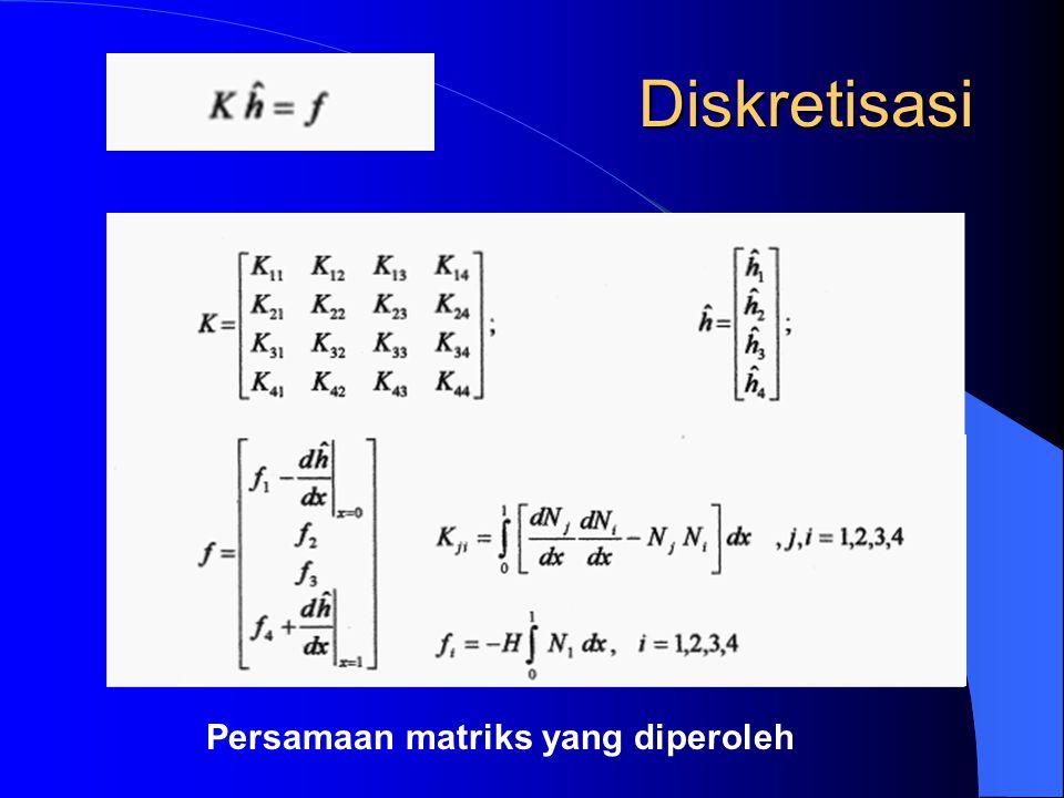 Perakitan Matriks Global penomoran simpul secara lokal dalam satu elemen dihubungkan dengan penomoran global dengan tabel connectivity table connectivity : – tabel hubungan nomor elemen, nomor simpul lokal nomor simpul global