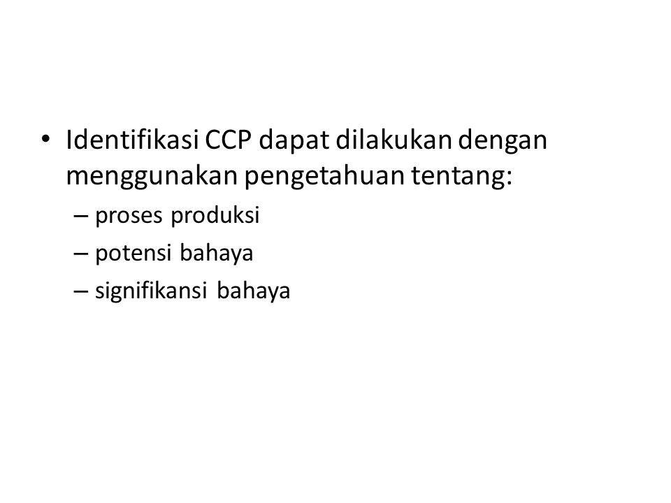 Identifikasi CCP dapat dilakukan dengan menggunakan pengetahuan tentang: – proses produksi – potensi bahaya – signifikansi bahaya