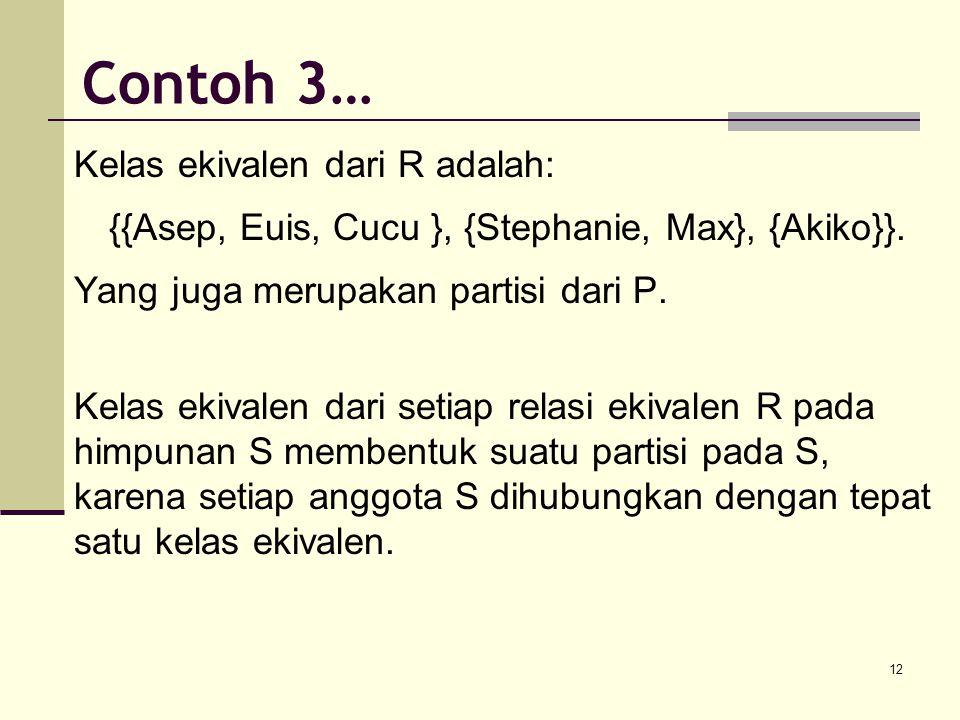 12 Kelas ekivalen dari R adalah: {{Asep, Euis, Cucu }, {Stephanie, Max}, {Akiko}}. Yang juga merupakan partisi dari P. Kelas ekivalen dari setiap rela