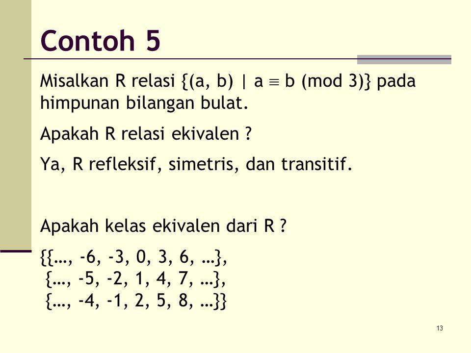 13 Misalkan R relasi {(a, b) | a  b (mod 3)} pada himpunan bilangan bulat. Apakah R relasi ekivalen ? Ya, R refleksif, simetris, dan transitif. Apaka