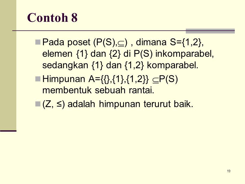 19 Contoh 8 Pada poset (P(S),  ), dimana S={1,2}, elemen {1} dan {2} di P(S) inkomparabel, sedangkan {1} dan {1,2} komparabel. Himpunan A={{},{1},{1,