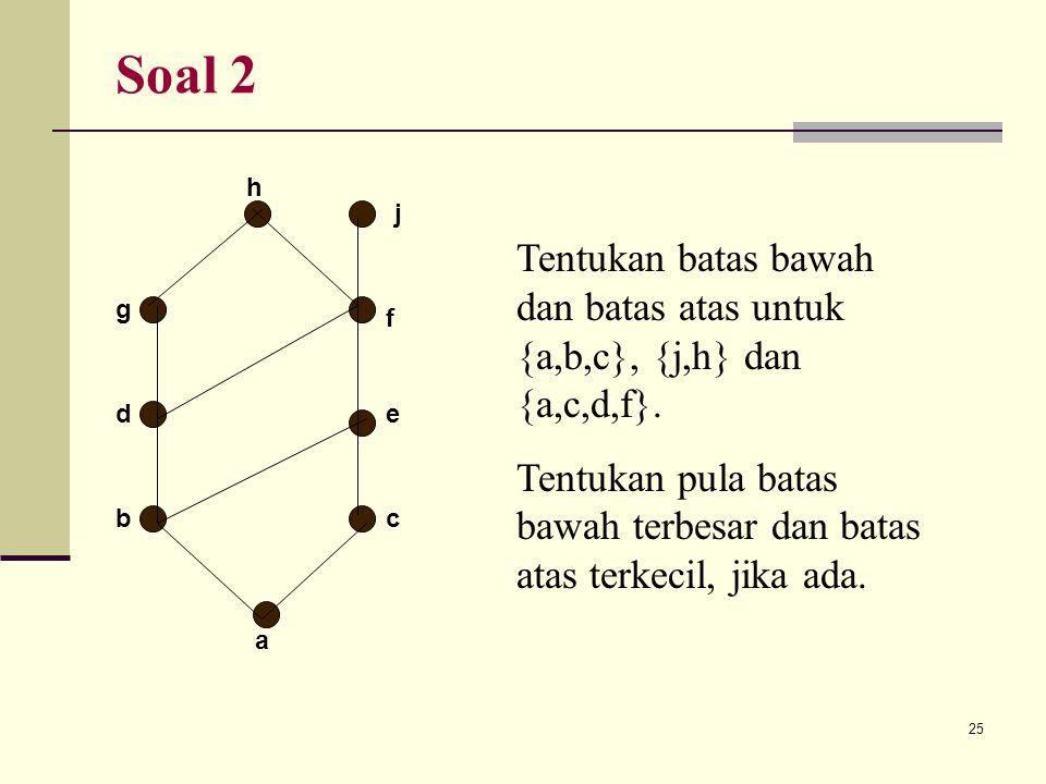 25 Soal 2 h a g d bc e f j Tentukan batas bawah dan batas atas untuk {a,b,c}, {j,h} dan {a,c,d,f}. Tentukan pula batas bawah terbesar dan batas atas t