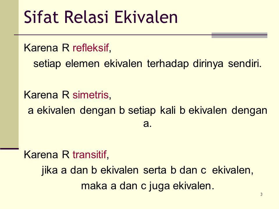 3 Karena R refleksif, setiap elemen ekivalen terhadap dirinya sendiri. Karena R simetris, a ekivalen dengan b setiap kali b ekivalen dengan a. Karena